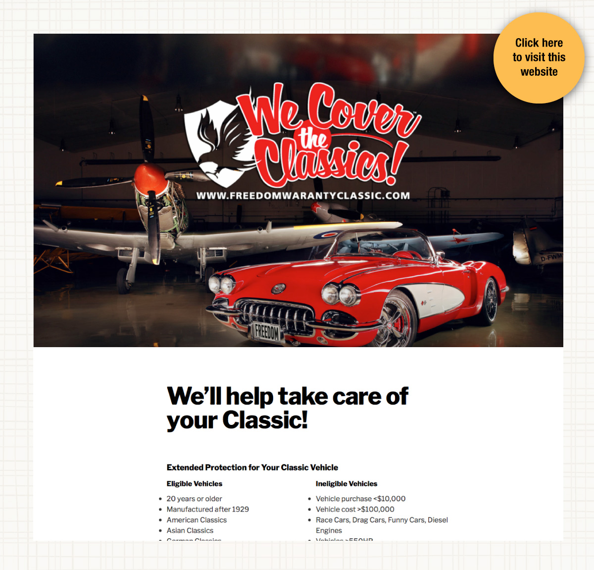 Website for Freedom Warranty Classic